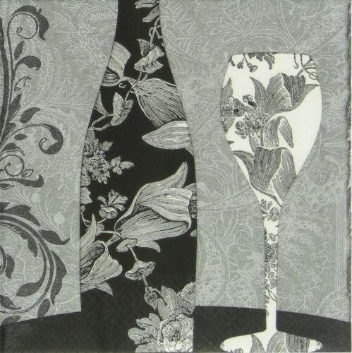 4x Paper Napkins for Decoupage Decopatch Black Dinner Wine