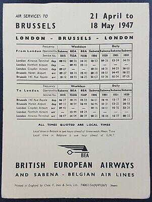 London From 10-08-1947 F3 Vintage BEA Timetable Czechoslovakia UK To Prague