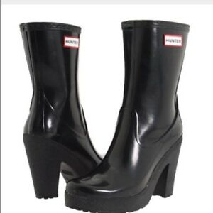 Rare-Hunter-Arnie-Black-4-034-Heel-Rubber-Rain-Boots-US8-EU39-UK6-EUC-Gummistiefel