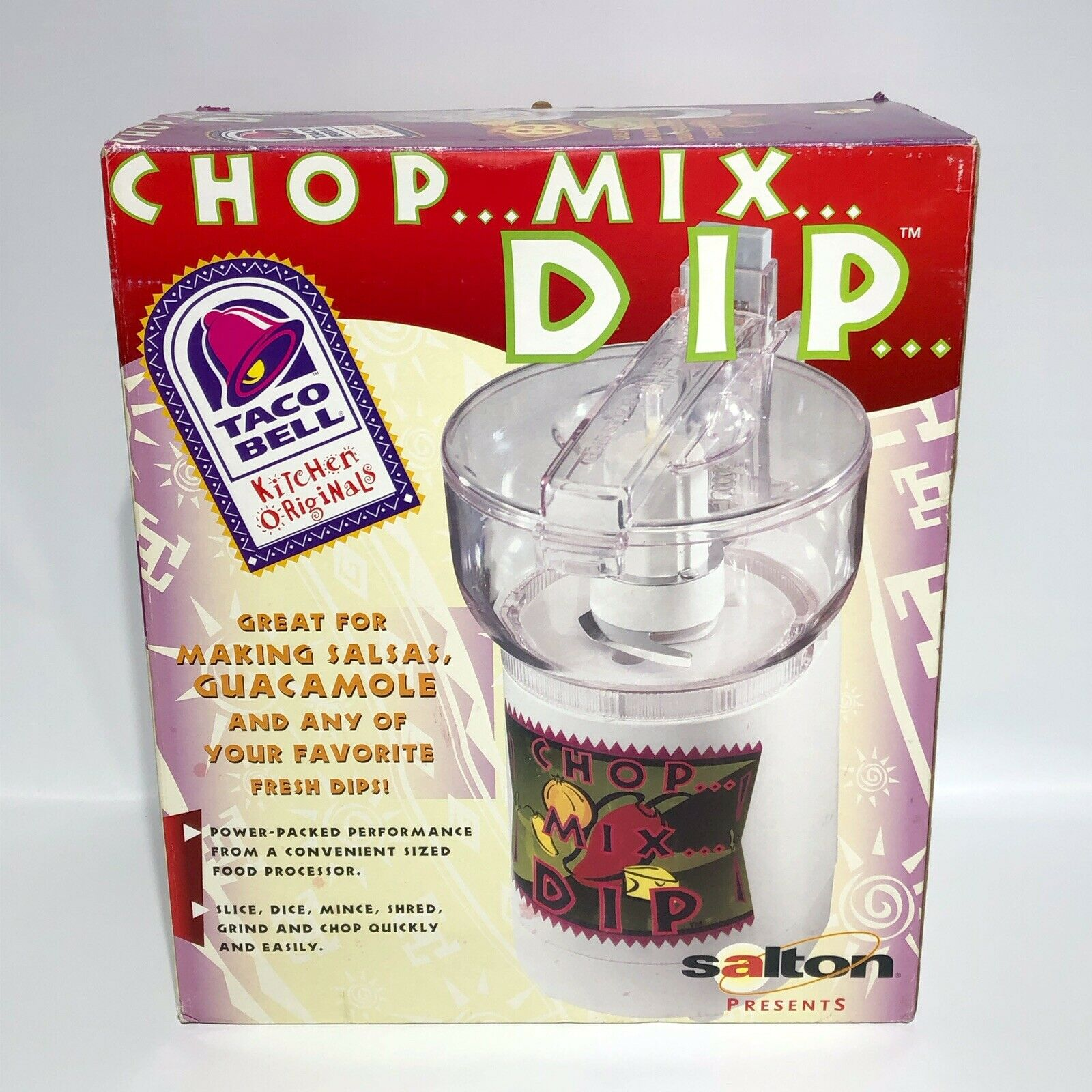 TACO BELL cuisine Originals Mini Food Processor Salton 1998 Chop Mix DIP New