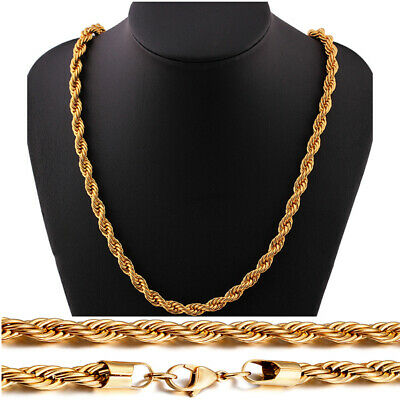 18k Real Gold Plated Stainless Steel Rope Link Chain Necklace Men Women Jewelry Ebay