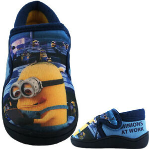 Minions-Childrens-Slippers-Despicable-Me-Slippers-Shoes-Touch-Fastning-Blue