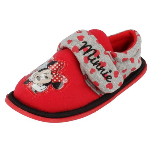 Girls Disney Minnie Mouse Red and Grey Boarder Slippers