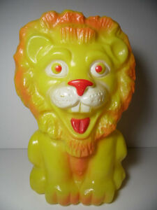 Vintage-1960s-Rare-LION-ANIMAL-PLASTIC-TOY-BANK-Winc-Inc-BEASTY-BANK-Collectible