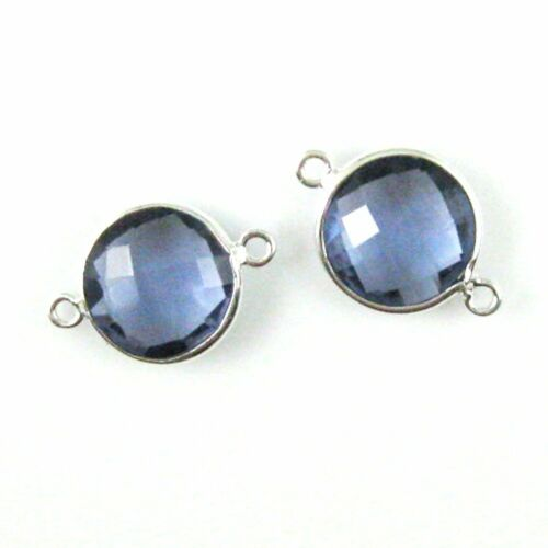 Bezel Gemstone Connector Sterling Silver Charm Faceted Coin Link 2 Pcs