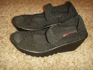 Details About Skechers Stretch Weave Memory Foam Wedge Shoe Peep Toe Womens Size 6 5 7