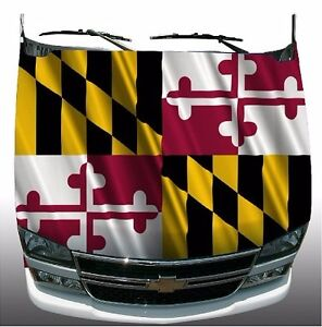 Maryland Flag Hood Wrap Wraps Sticker Vinyl Decal Graphic
