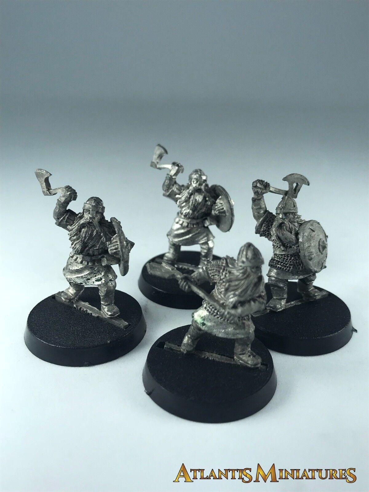 Metal Dwarf Warriors x4 - OOP - Warhammer   Lord of the Rings C112