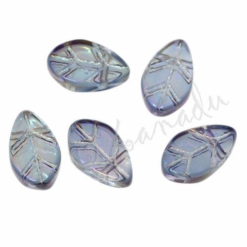 Glass Leaves 11mm Wholesale Blue Aurora Borealis  Beads G3309-20 50 Or 100PCs