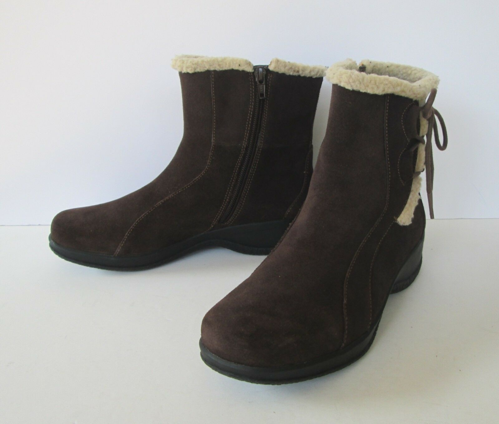Clarks Womens Brown Suede Fleece Leather Fleece Suede Trim  Zip Up Ankle Boots 8 M 656caf