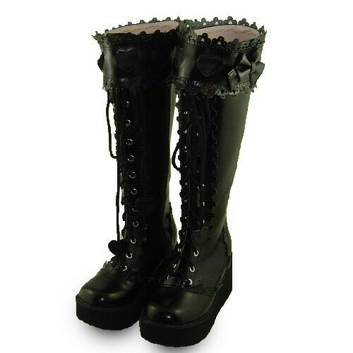 negro gothic gotik goth lolita punk botas botas zapatos zapatos zapatos zapatos high heel mujer  mejor opcion