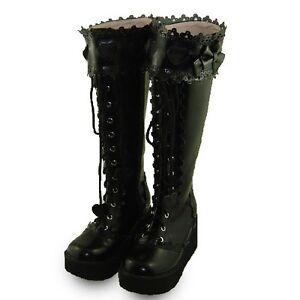 Schuhe Shoes Heel Goth Damen Stiefel Details Schwarz Lolita Zu Gotik High Boots Gothic Punk 31FlJcTK