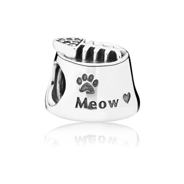 e9366b620 Authentic Pandora Sterling Silver Meow Cat Food Bowl Charm Bead 791716CZ