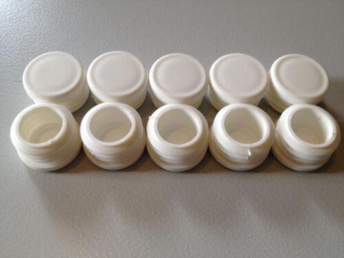 WS 1-2,25mm 10 Stück Lamellenstopfen Rundrohr Ø25mm Gleiter,Endkappen weiß