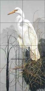 Ceramic-Tile-Mural-Kitchen-Backsplash-Binks-Egret-Bird-Wildlife-Art-REB031
