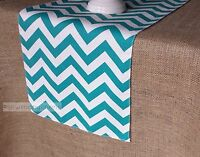 Turquoise Table Runner Teal Aqua Table Centerpiece Chevron Home Decor Linens