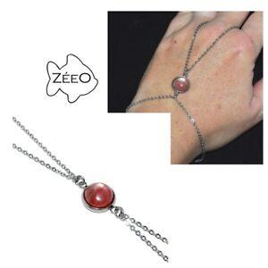 ZEEO-Chaine-de-main-bracelet-bague-acier-argente-Agate-rubanee-bijou