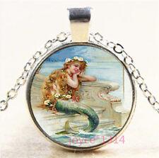 Mermaid Cabochon Silver//Bronze//Black//Gold Glass Chain Pendant Necklace #6405