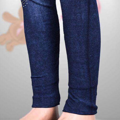 110-116 Design Mädchen Leggings Jeggings Stretch Hose Jeans Look Gr