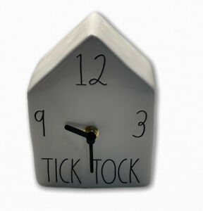 Rae-Dunn-By-Magenta-Ceramic-Square-TICK-TOCK-Clock-Birdhouse