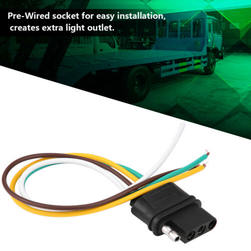 Trailer Light Wiring Harness Extension 4 Pins Plug Wire Connector Socket Kit