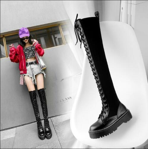 Over Punk Warm Knight Up Scarpe coscia Knee Lace Round V51 Womens Gothic Stivali Toe qvCxU7tw