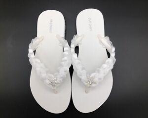 White Bridal Flip Flops Wedding Flip