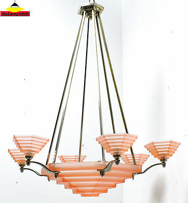 DEGUE french Art Deco chandelier ceiling light signed modernism