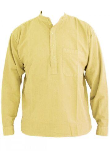 Cream Collarless Shirts Grandad Shirt sizes small to 2XL