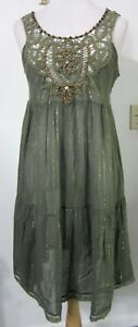 FREE-PEOPLE-Dress-S-Boho-Hippie-Sheer-Crinkle-Olive-Gold-Battenburg-Lace-MINT