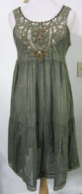 FREE PEOPLE Dress S Boho Hippie Sheer Olive Crinkle Gold Battenberg Lace MINT