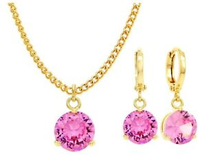Authentic-gold-plated-necklace-earrings-jewelry-set-sparkling-pink-gems-gift-box