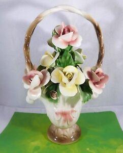 Nuova-Capodimonte-Porcelain-Flower-Basket-Large-Yellow-Pink-Roses-Italy