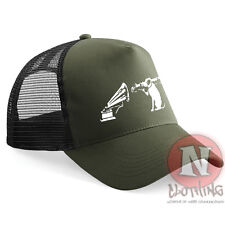 Banksy HMV dog nipper with bazooka Half mesh retro trucker baseball cap hat 6ee5196cc43