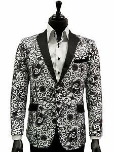 Manzini Mens Black White Sequin Embroidery Paisley Design Trendy