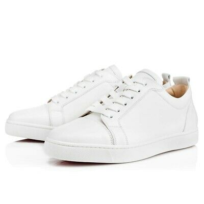 b24ec3d2e37 Christian Louboutin Mens Louis Junior Flat White Calf Leather Low ...