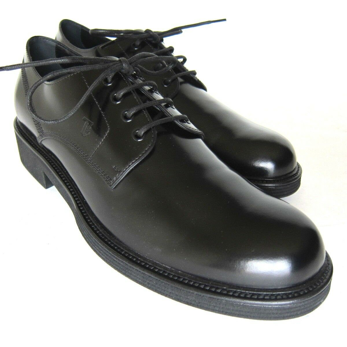 S-2190119 New Tods Derby Black Patent LaceUp shoes Size US 11.5 marked 10.5