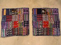 Large 19 Ethnic Guatamalan Mixed Patch Huipil Ikat Throw Pillow Case Pair