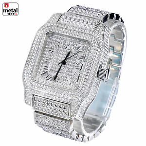 Men-039-s-Fashion-Stainless-Steel-Back-Iced-Out-Heavy-Metal-Band-Watches-WM-7967-S