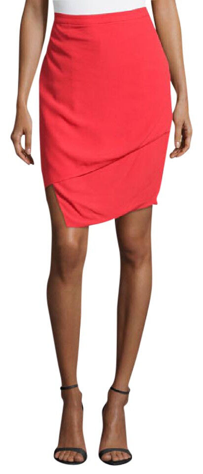 J BRAND Womens Asymmetrical JW25WO5503 Skirt Skinny Fit Masai Red Size US 0