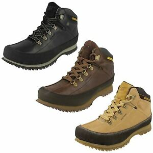 mens caterpillar lace up leather hiking walking shoes