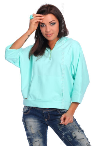 Casual Hoodie With Zipper /& Pockets Jumper 3//4 Sleeve Top Tunic Size 8-12 FA389