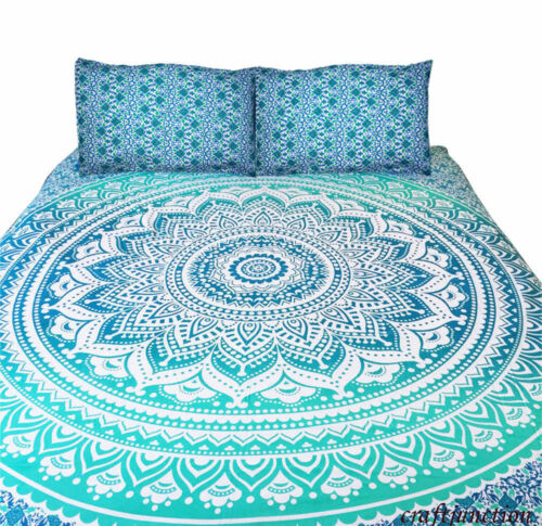 Ombre Mandala Boho Duvet Cover Queen Indian Quilt Cover Cotton Throw Doona Cover