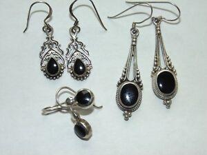 Vintage-Estate-Sterling-Silver-Black-Enamel-Onyx-Drop-Dangle-Pierced-Earrings