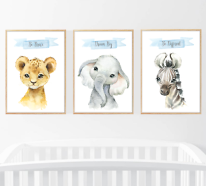 Safari-jungle-animaux-lot-de-3-Baby-Nursery-Imprimer-Set-Wall-Art-Enfants-Chambre-Maison