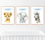 Safari-jungle-animaux-lot-de-3-Baby-Nursery-Imprimer-Set-Wall-Art-Enfants-Chambre-Maison miniature 1