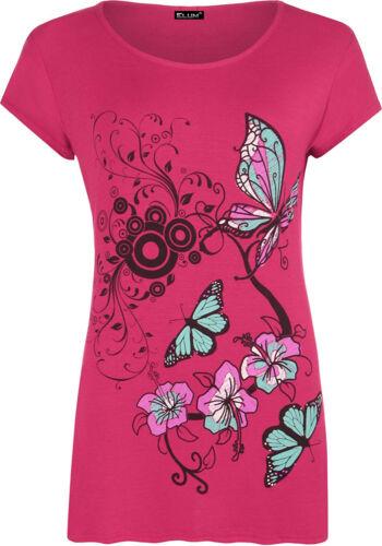 Femmes Plus Taille Fleur /& Papillon Imprimer manches courtes T-Shirt Femme Baggy Top