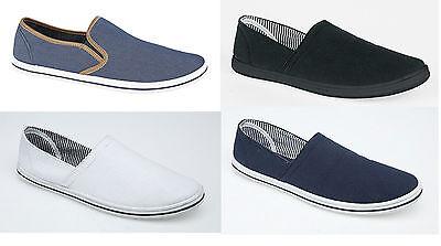 Mens Canvas Pumps Slip On Plims Summer Shoes Espadrilles Ladies Size 3 to 12 New