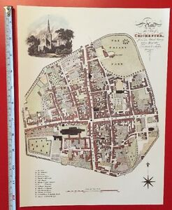"Old Antique colour map of Chichester, England: early 1800's, 1812: 12"" x 9"""