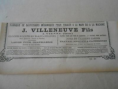 Sensible Fabrique De Bastissages J Villeneuve à Vienne Pub 1887 Isère